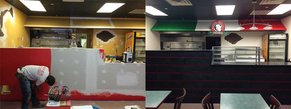 Pizzeria Counter Construction before and after