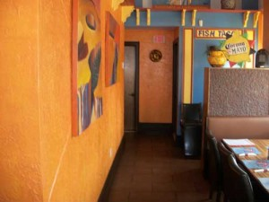 Mexicali Blue Orange Wall Color Scheme