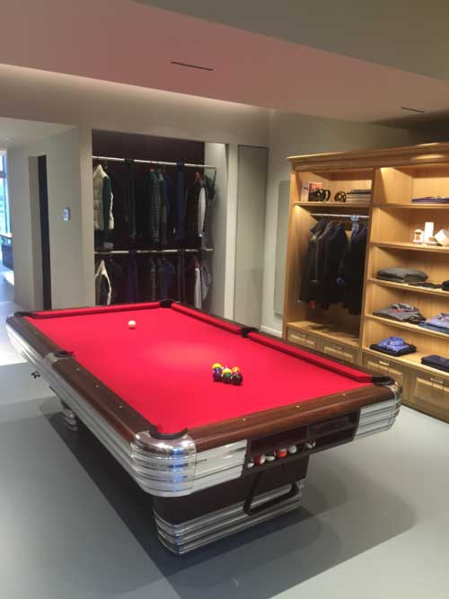 Pool room in retail store